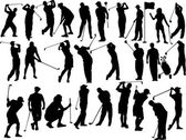 Collection of golfers vector silhouettes — Stock Vector