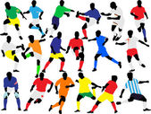 Soccer players collection vector — Stock Vector