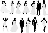 Brides and grooms collection silhouettes — Stock Vector