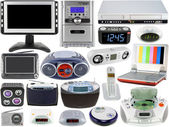 Conjunto de eletroeletrônicos áudio e vídeo — Fotografia Stock