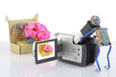 The toy operator of a videocamera — Stock Photo