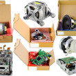 Stock Photo: Cardboard spare parts packing set