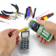Stock Photo: Repair of telephone