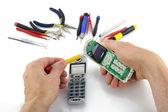 Repair of the telephone — Stock Photo
