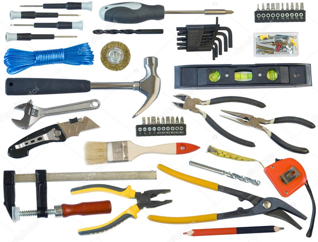 Mega tools set  for the house master. Isolated on white. With all devices clipping patches. — Stock Photo #3238762