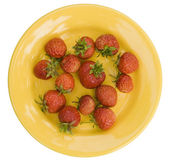 Plate with wild strawberry — Stock Photo