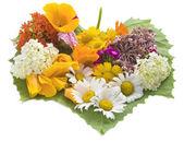 Flores y corazón verde — Foto de Stock