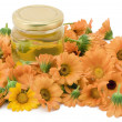 Medical oil from a calendula - Stock Photo