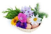 пасхальные яйца и цветы — Стоковое фото