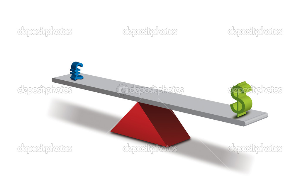 Seesaw Concept Global Currency Value, Dollar & Pound — Stock Photo #2860829