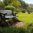 Park Bench Morning - Stock Photo