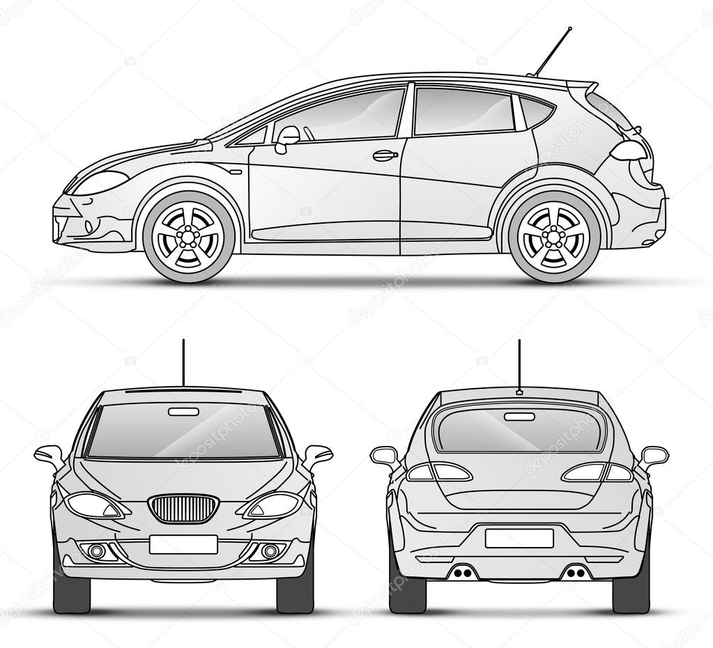 Car with outline, front, Back, Side view — Stock Photo #2890735