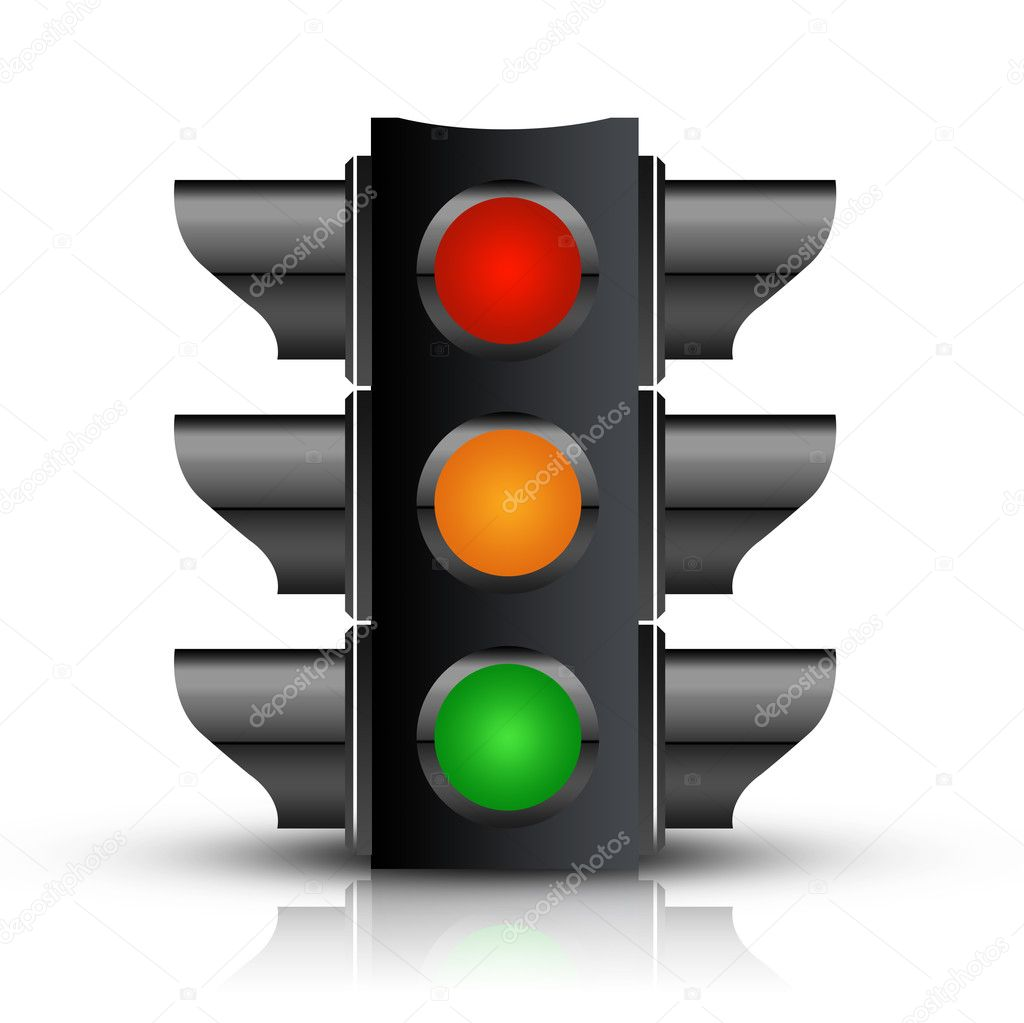 Traffic Light with - Isolated on White — Stock Photo #3398695