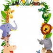 Funny animal cartoon frame - Stok Vektör