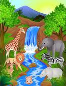 Animal dans la jungle — Vecteur