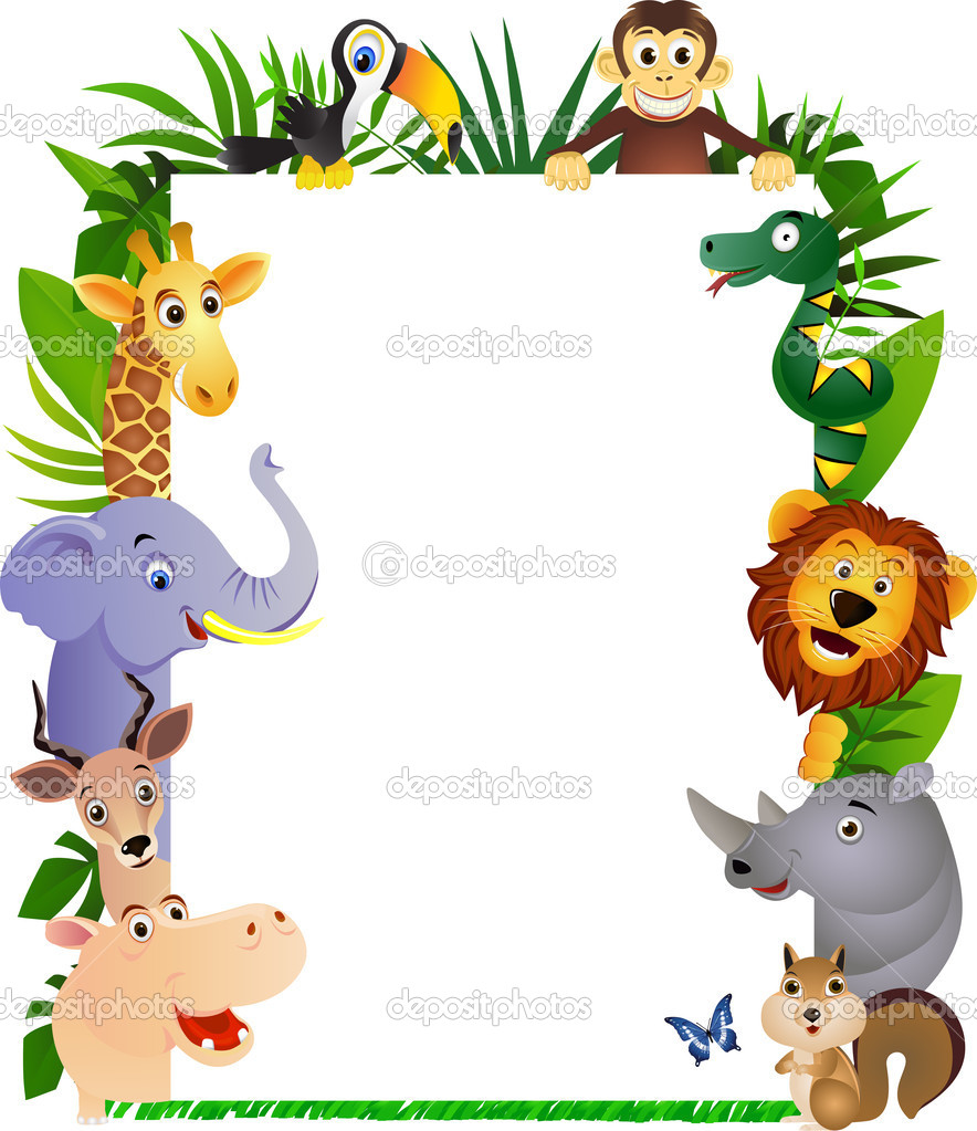 Funny animal cartoon frame stock illustration