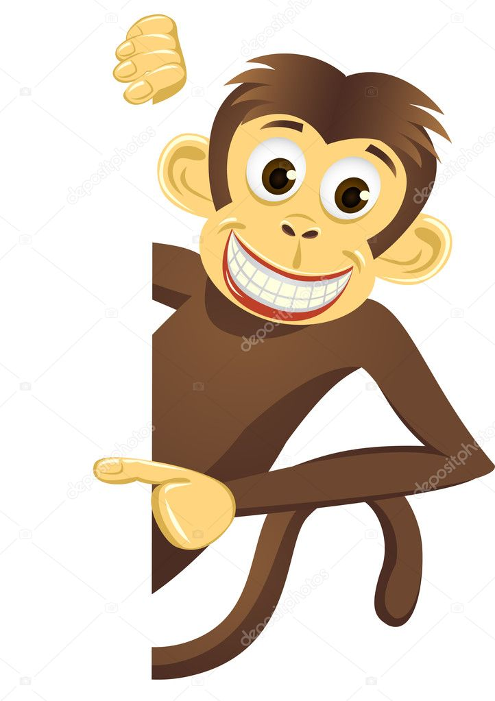 Cute monkey and blank space — Stock Vector #2868587