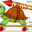 Turtle with rocket — Vector de stock