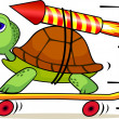 Stock vektor: Turtle with rocket