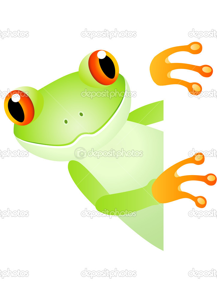 Vector illustration of a cute frog and blank space — Stock Vector #2981523