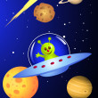 Alien in space craft — Vector de stock #3083293