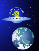 Cute alien visiting earth — Stock Vector