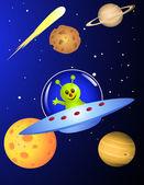 Alien dans le vaisseau spatial — Vecteur