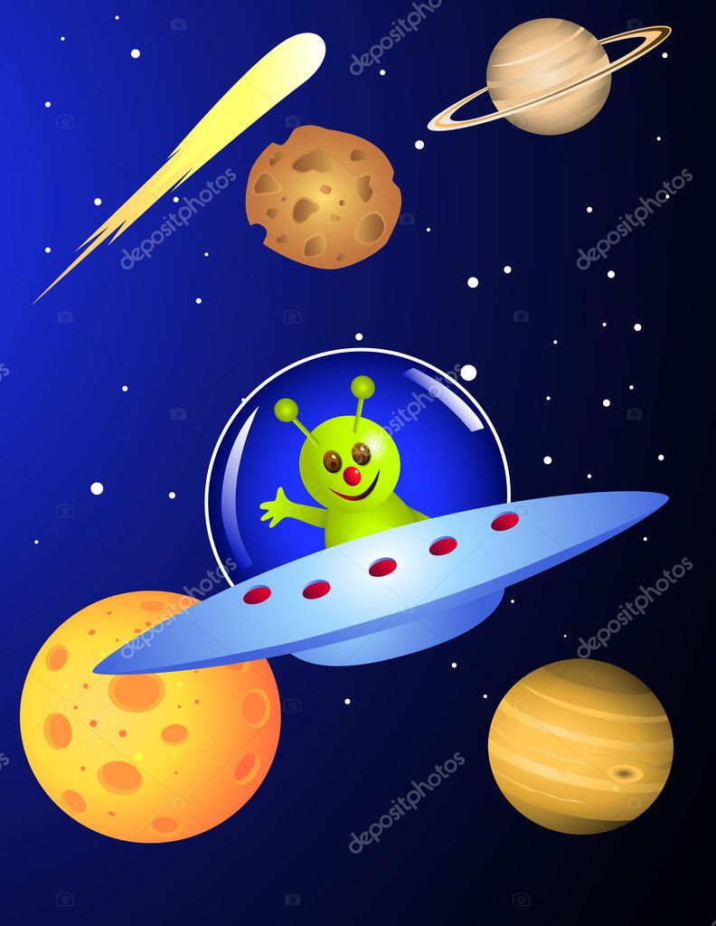 Alien in the space craft  Stock Vector #3083293