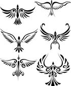 Bird tattoo silhouet — Stockvector