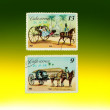 Two stamps on the green-yellow backgroun — Stock Photo
