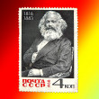 Postage stamp with Karl Marx on the red — Stock Photo