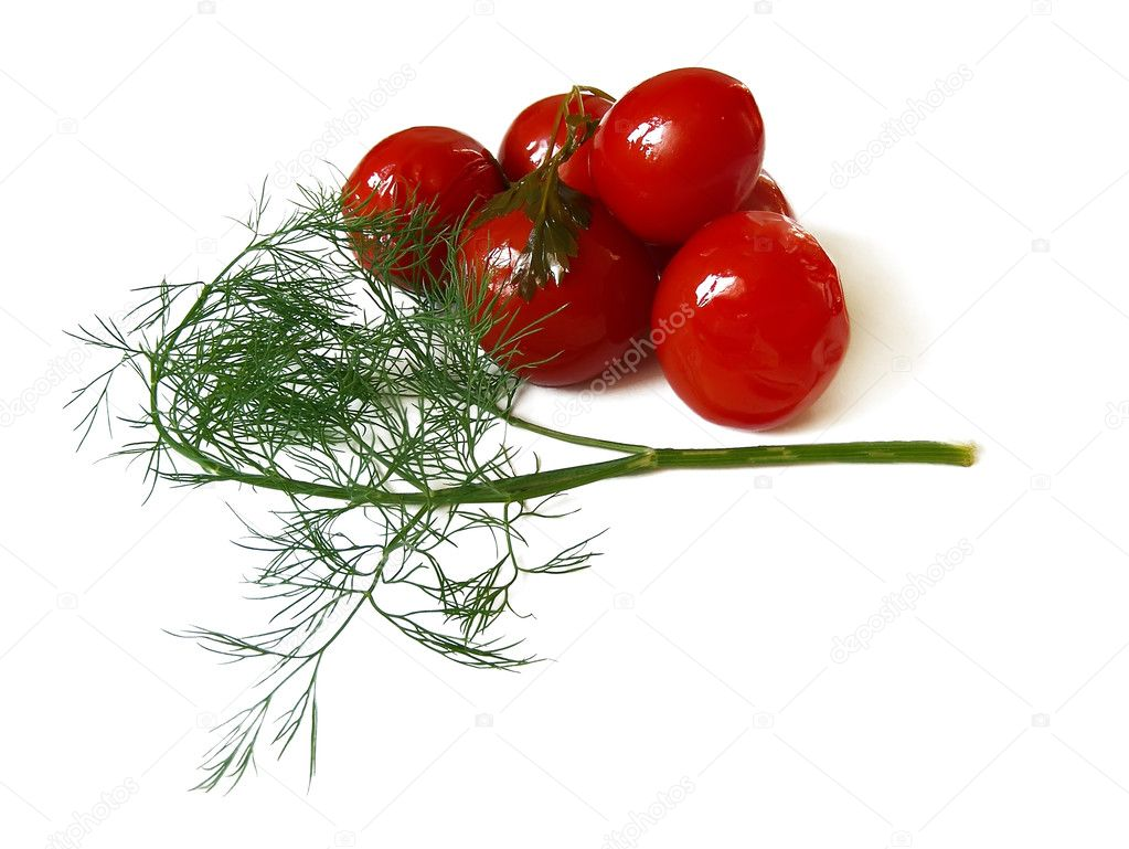 Marinated tomatoes on white background — Foto Stock #2893988