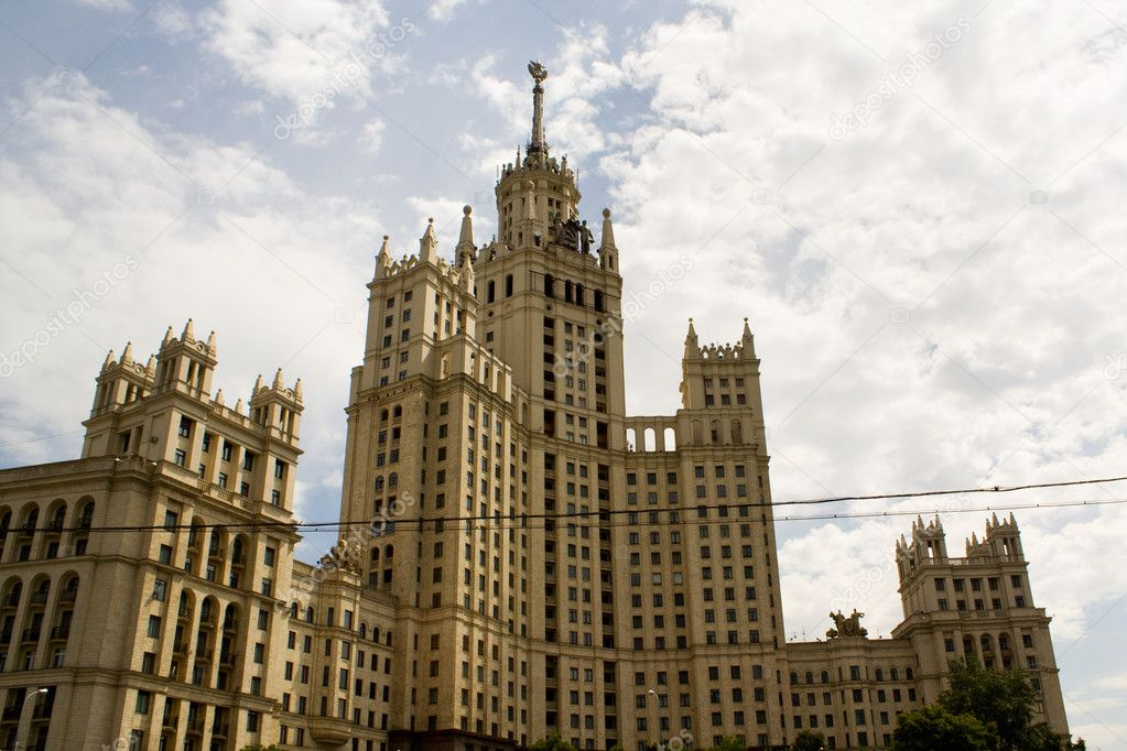 One of known, well-known houses in Moscow constructed by order of Stalin on Kotelnichesky quay in Moscow — Stock Photo #2760013