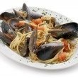 Pasta with mussels — Stockfoto