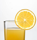 Orange juice glass close up — Stock Photo