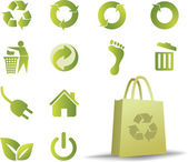 Ecologic icon set with bonus eco bag — Stock Vector