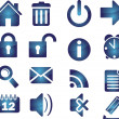 Set of blue elegant simple icons — Imagen vectorial