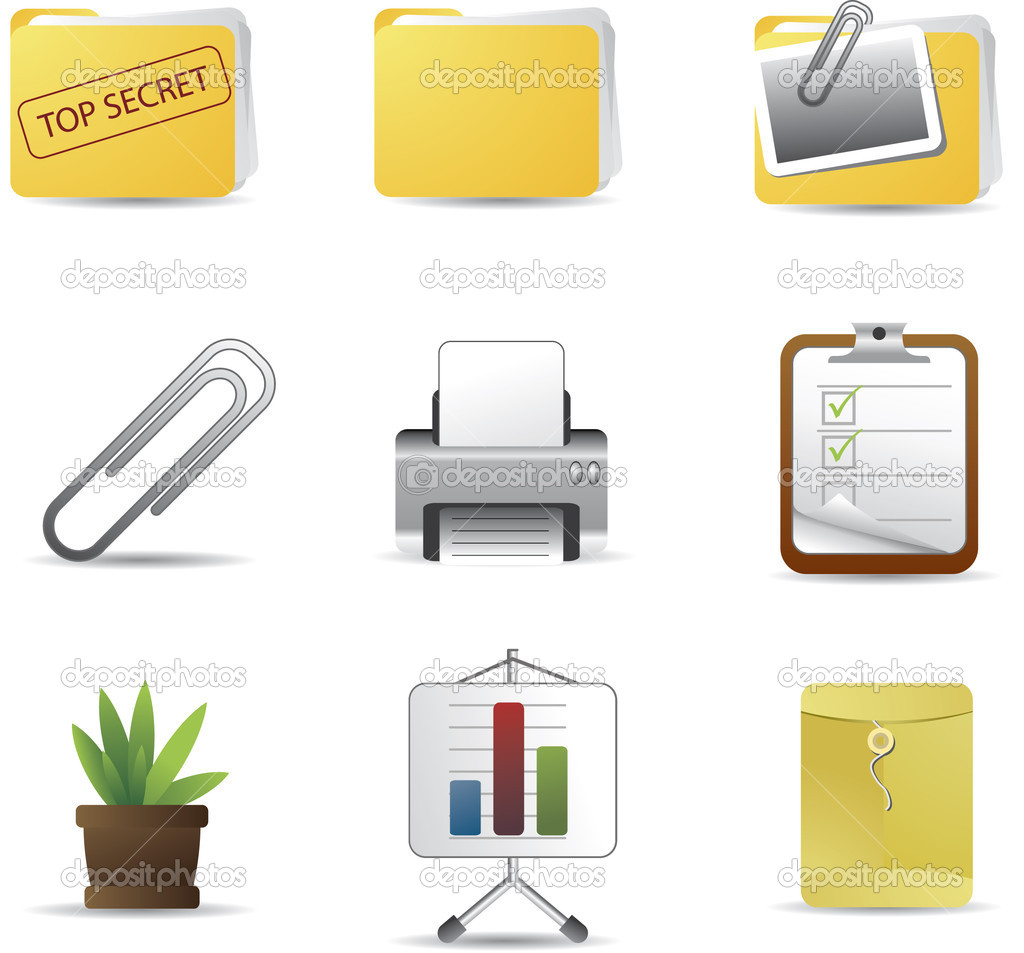 Simple modern office / business icon set for webpage, application, or prin — Stock Vector #2887013