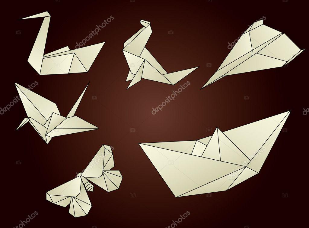 origami objects � stock vector 169 ordogz 2998009