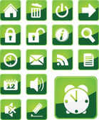 Simple, modern green office icons — Stock Vector