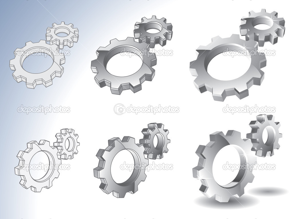 3d chrome gears isolated on white  Stock Vector #3303696