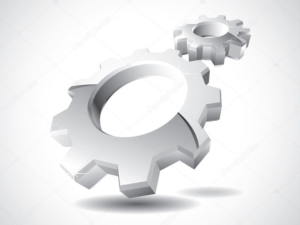 3d chrome gears isolated on white — Stock Vector #3303783