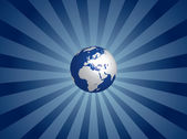 Blue globe on light rayed background — Stock Vector