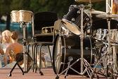 Drumps set on the scene — Stock Photo