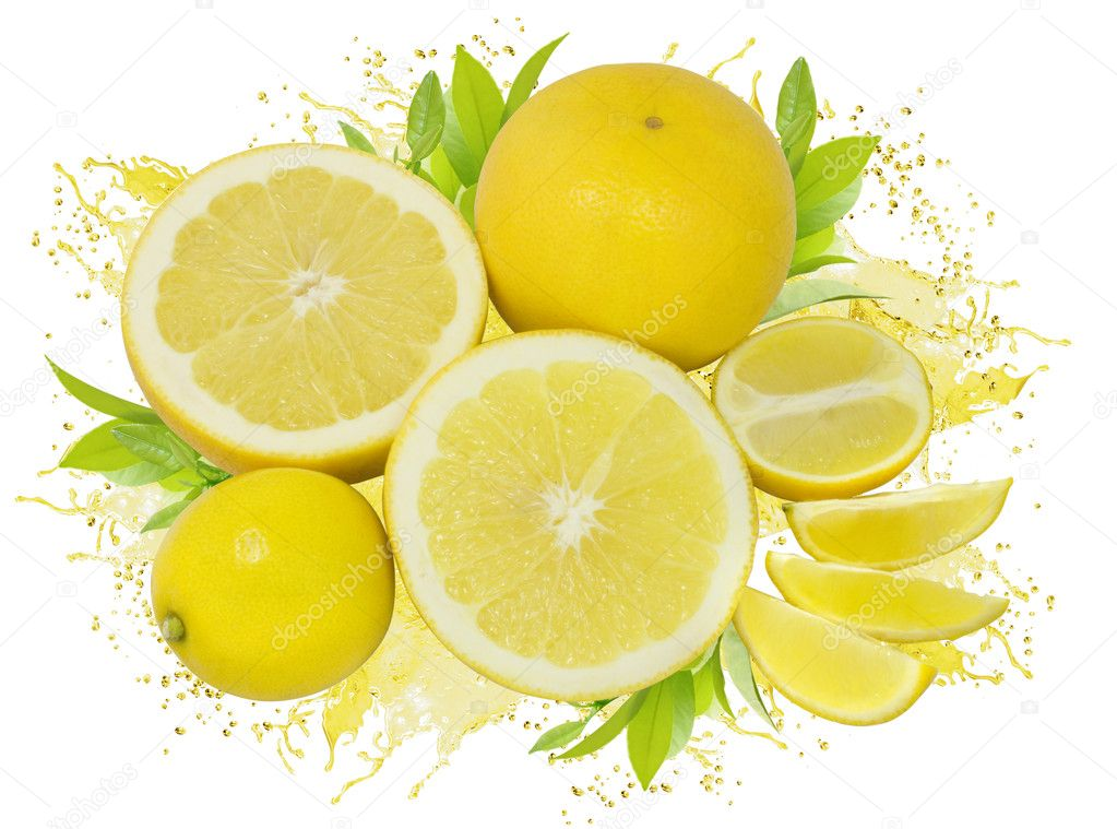 Group of yellow lemons and grapefruits with green leaves and juice splash isolated on white — Stock Photo #3784885