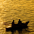 Fisher boat on the Nile River - Stock Photo
