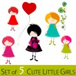 Cute illustrated little girls - Stock Photo