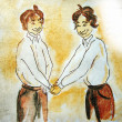 Handshaking boys — Stock Photo