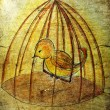 Illustrated little bird in cage on grunge background — Stock Photo