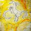 Illustrated white horse on grunge background — Stock Photo